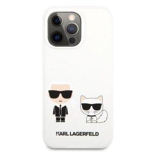 Husa Cover Karl Lagerfeld Silicone Karl&Choupette pentru iPhone 13 Pro White