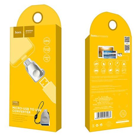 Adaptor Hoco OTG USB la USB Micro UA10, Argintiu