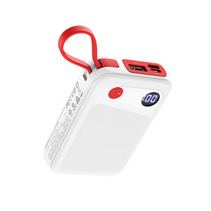 Baterie Externa Borofone 10000mAh Cu Cablu Date Lightning BT24 Alb