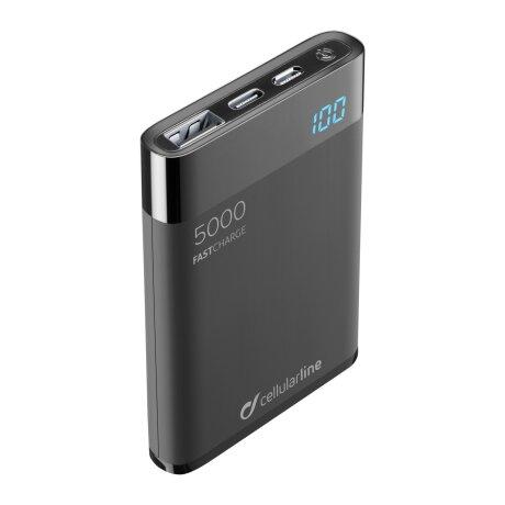 Baterie Externa Cellularline 5000mAh Manta HD QC 3.0 2xUSB 10W Negru