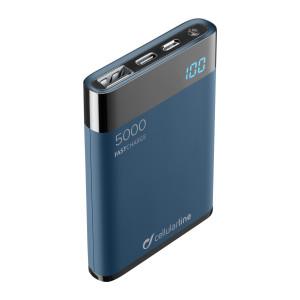 Baterie Externa Cellularline FREEPMANTA5HDK 5000mAh Manta QC 3.0 2xUSB 10W Albastru