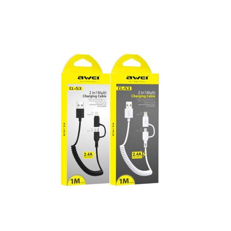 Cablu Date 2in1 Micro Ubs + Lightning Awei 1m Alb