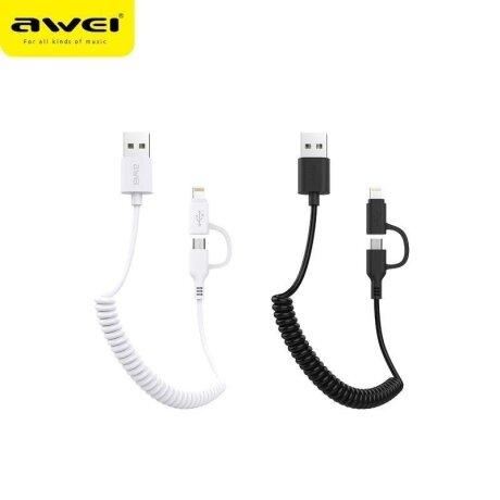 Cablu Date 2in1 Micro USB+ Lightning Awei 1m Negru