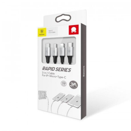 Cablu Date 3in1 Baseus Rapid  3A 1.2m Negru