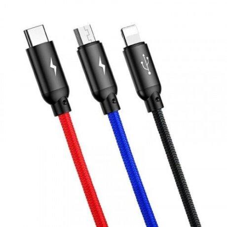 Cablu Date 3in1 Baseus Three Primary  3.5A 1.2m Negru