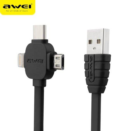 Cablu Date 3in1 Micro Ubs + Lightning+Type C Awei 2m Negru