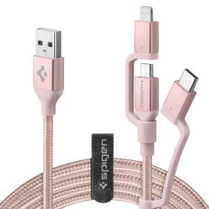 Cablu Date 3in1 Spigen C10i3 QC 3.0 1.5m Rose Gold