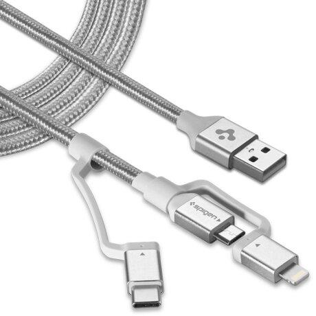 Cablu Date 3in1 Spigen C10i3 QC 3.0 1.5m Silver