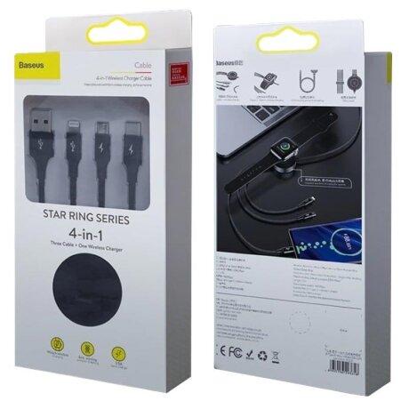 Cablu Date 4in1 Baseus Star Ring  cu Incarcare Wireless pentru iWatch 3.5A 1.2m Gri