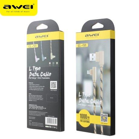 Cablu Date Lightning Awei Textil 1m Gri