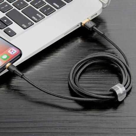 Cablu Date Lightning Baseus Cafule  1.5A 2m Negru-Auriu