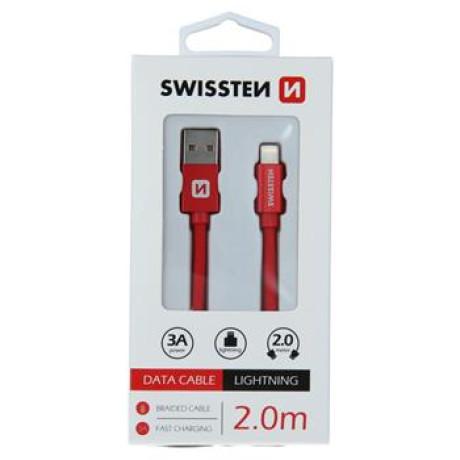 Cablu Date Lightning Swissten Textil 2m Rosu