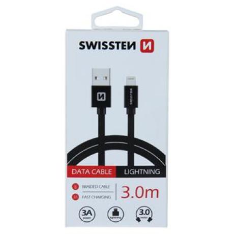 Cablu Date Lightning Swissten Textil 3m Negru