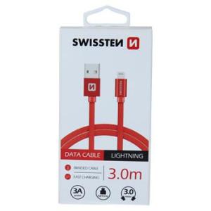 Cablu Date Lightning Swissten Textil 3m Rosu