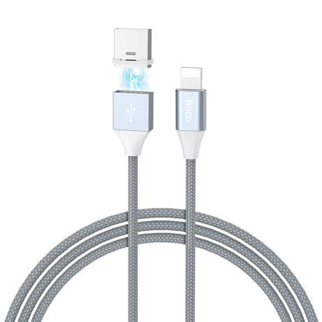 Cablu date magnetic Hoco U40B Lightning, Gri 1m