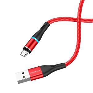 Cablu Date Micro Usb Borofone BU16 Skill Textil 1.2 m Magnetic Rosu