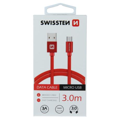 Cablu Date Micro Usb Swissten Textil 3m Rosu