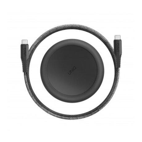 Cablu Date Type C la Type C Uniq Halo cu Organizator 18W 1.2m Negru