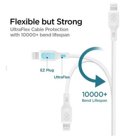 Cablu Date Usb-C Spigen C10CL QC 3.0 0.9m White
