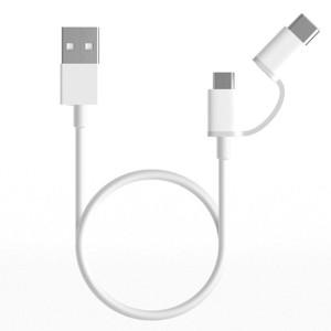 Cablu Date Xiaomi Mi 2in 1 Micro Usb-Type C 30cm Alb