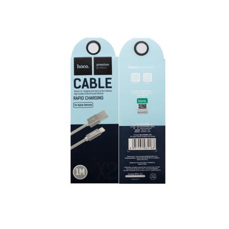 Cablu impletit lightning cu incarcare rapida, Hoco X2 Gri