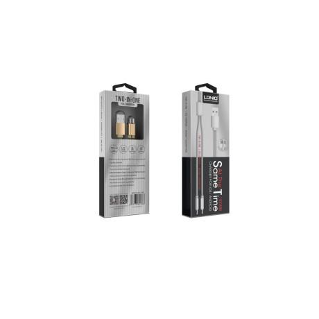 Cablu incarcare 2 in 1 lightning +micro usb Ldnio LC86 Gri