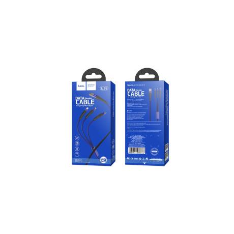 Cablu incarcare 3 in 1, Hoco U39 Albastru