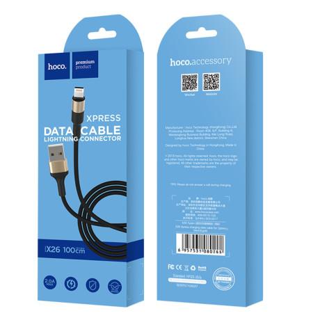Cablu incarcare/transfer date Lightning X26 Hoco Negru cu Auriu
