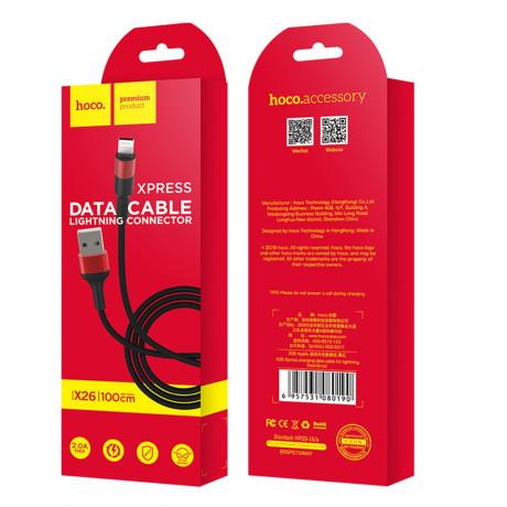 Cablu incarcare/transfer date Lightning X26 Hoco Negru cu Rosu