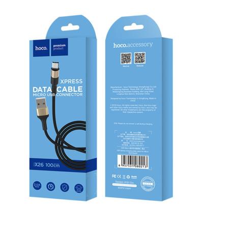 Cablu incarcare/transfer date Micro Usb X26 Hoco Negru