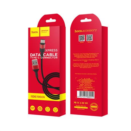 Cablu incarcare/transfer date Type C, X26 Negru cu Rosu Hoco