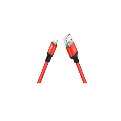 Cablu Lightning cu incarcare rapida Hoco X14 2m Rosu cu Negru