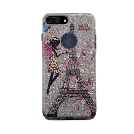 Carcasa fashion glitter iPhone 7 Plus, Contakt Argintie