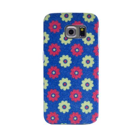 Carcasa fashion glitter Samsung Galaxy S6 Edge, Contakt Albastra