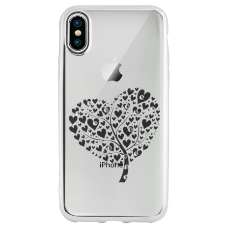 Carcasa Fashion Iphone X Heart Tree Argintie Beeyo