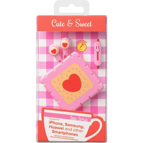 Casti cu Fir Cellularline Cute&Sweet Biscuit Microfon Jack 3.5mm