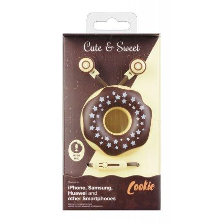 Casti cu Fir Cellularline Cute&Sweet Cookie Microfon Jack 3.5mm