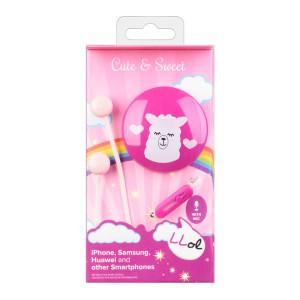 Casti cu Fir Cellularline Cute&Sweet Lama Microfon Jack 3.5mm