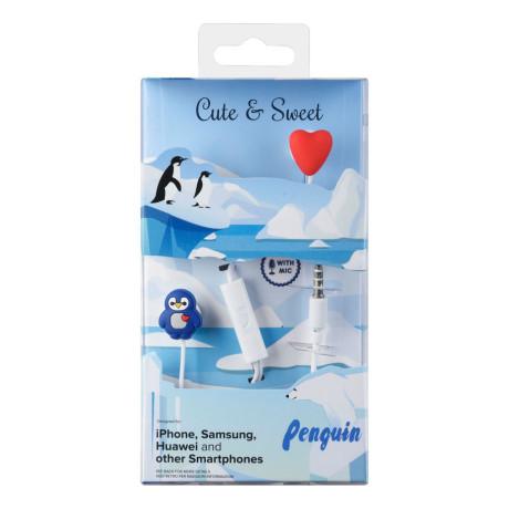 Casti cu Fir Cellularline Cute&Sweet Penguin Microfon Jack 3.5mm