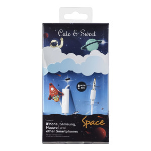 Casti cu Fir Cellularline Cute&Sweet Space Microfon Jack 3.5mm