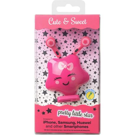 Casti cu Fir Cellularline Cute&Sweet Star Microfon Jack 3.5mm Roz