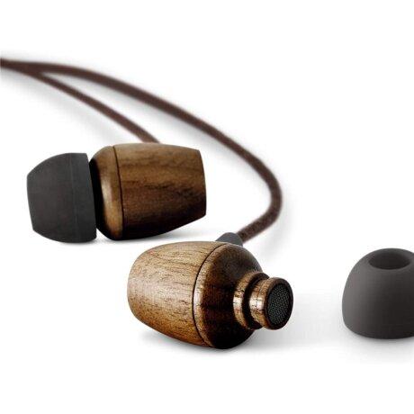 Casti cu Fir Energy Eco Walnut Wood Microfon cu Input Type C Maro