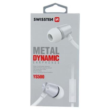 Casti cu Fir Swissten Metal Dinamic YS500 Jack 3.5mm Alb