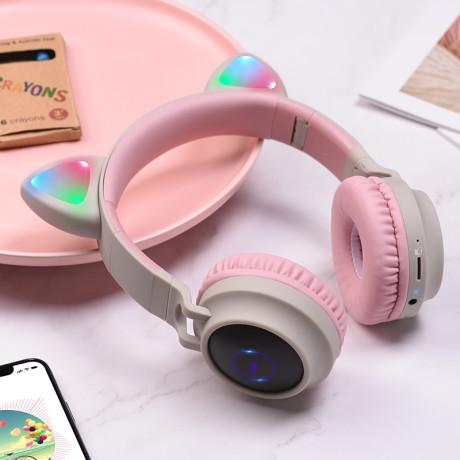 Casti Wireless Hoco W27 Cat Ear BT 5.0 Roz
