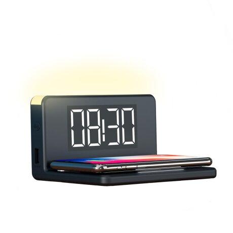 Ceas cu Alarma Ksix cu Incarcare Rapida Wireless 7.5W-10W Negru