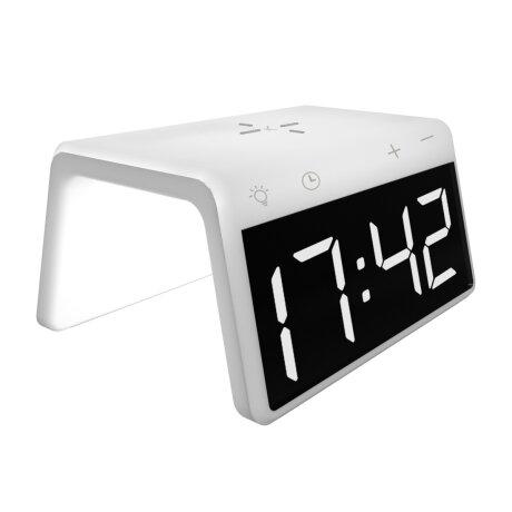 Ceas cu Alarma Ksix cu Incarcare Rapida Wireless 7.5W-10W Alb