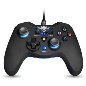 Controller Gaming Spirit of Gamer XGP pentru PS3 cu Fir 1.8m si 12 Butoane Albastru