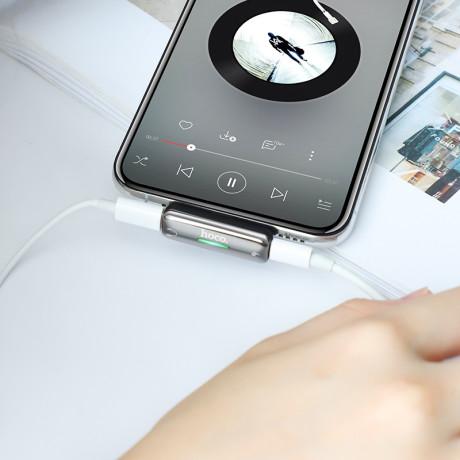 Convertor Audio Lightning Hoco LS27, Dual Port 2A, Argintiu