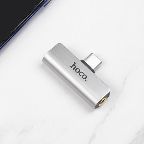 Convertor Audio Type C, Hoco LS26, 2 in 1 Argintiu