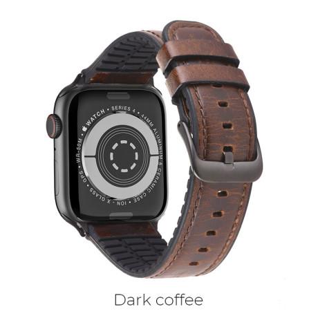 Curea Apple Watch Hoco WB18 Fenix Piele 42/44mm Maro